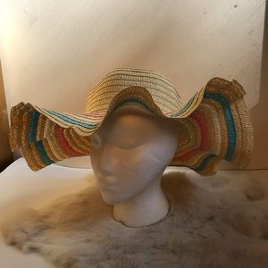 Vintage Accessories - Vintage Straw Wide Brim Hat Pastel Ribboned